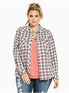 "<div>Why be a goody-goody, when you can be plaid? This tomboy-ish camp shirt has grunge appeal with grey, white and red plaid. All the classic details are present: a button front, breast pockets, and button sleeves with roll-'em-up potential.</div><div><br></div><div><b>Model is 5'10"", size 1</b></div><div><ul><li style=""LIST-STYLE-POSITION: outside !important; LIST-STYLE-TYPE: disc !important"">Size 1 measures 29 3/4"" from shoulder</li><li style=""LIST-STYLE-POSITION: outside !imp..."