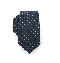 Skinny Tie  Mens Tie Navy Blue Dots Skinny Silk by TieObsessed, $18.95