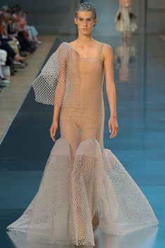 I'm thinking this is knit (rather than mesh crochet), but given that it's completely see-through I predict we'll soon see this on a Kardashian. (Maison Margiela Fall 2015 Couture - Collection - Gallery - Style.com)