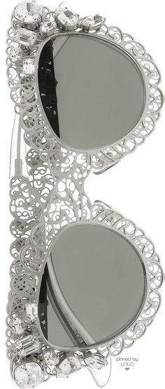 DOLCE & GABBANA Cat Eye Filigree Silver-Tone Sunglasses | LOLO❤