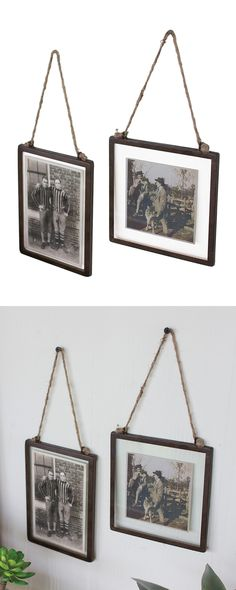 Ah, the good old days. Preserve your most precious photographic memories with this pair of charming Old Faithful Photo Frames. Suspended from jute hangers and framed in antiqued metal, these picture ho...  Find the Ole Faithful Photo Frames - Set of 2, as seen in the The Treehouse at Camp Wandawega Collection at http://dotandbo.com/collections/the-treehouse-at-camp-wandawega?utm_source=pinterest&utm_medium=organic&db_sku=114616