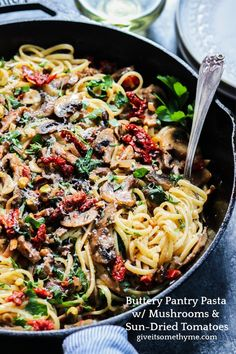 Buttery Pantry Pasta with Mushrooms & Sun-Dried Tomatoes requires simple veggies, butter, hunk of parm, and few things from the pantry. 30 minutes and done! Yummy Pasta Recipes, Healthy Dinner Recipes, Vegetarian Recipes, Risotto Recipes, Skillet Recipes, Noodle Recipes, Healthy Food, Stuffed Mushrooms, Stuffed Peppers
