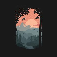 Check out this awesome 'Along+the+Trail' design on - Johannes Belach - Re-Wilding Art And Illustration, Graphic Design Illustration, Illustrations, Mountain Illustration, Kunst Inspo, Art Inspo, Posca Art, Guache, Aesthetic Art
