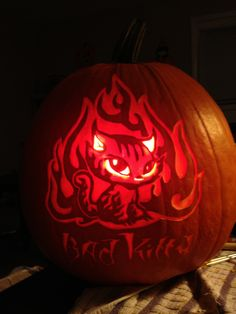 Bad Kitty. Carved on a real pumpkin by WynterSolstice using a Stoneykins pattern