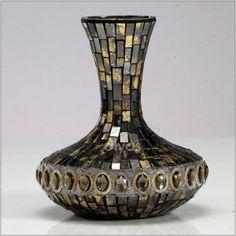 Diyas Almira Small Mosaic Vase IL70246  An stunning range of brown and gold mosaic homeware.