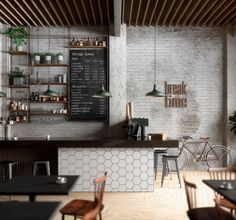 Image result for cafe bar design rustic