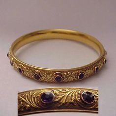 This Krementz Art Nouveau bangle is beautiful and wonderful quality as expected from the company. It is very suitable for everyday wear as well as stacking with a few others. It's surface is a