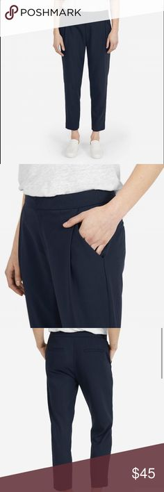 Everlane Slouchy Trouser Everlane Slouchy Trouser in navy. These were my favorite pair of pants, but unfortunately they're too big for me now. They are comfortable, versatile, and the pleats and high waist make these flattering on everyone. Perfect for every season: the Italian wool is somehow warm in winter and cool in summer. I included the measurements below. These are in good condition and freshly dry cleaned. Inseam: 25.5 inches Waist: 32 1/4 Hips: 43 Front rise: 10 3/4 inches Everlane…