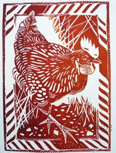 Best Foot Forward - Hen Linocut by Jackie Curtis. Image 19cm x 26cm
