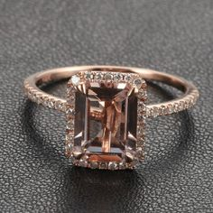 $380   HALO Emerald Cut Morganite .26ctw Diamond Claw Prongs by GemOutlet