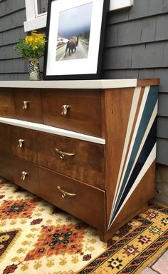 Mid century dresser I refinished with General Finishes paint and gel stain. Painted dressers and upcycled vintage furniture is my favourite! Funky Furniture, Refurbished Furniture, Paint Furniture, Upcycled Furniture, Furniture Projects, Furniture Makeover, Vintage Furniture, Dresser Furniture, Dresser Makeovers