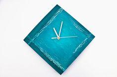 Wall clock Turquoise minimal, blue unique clock, modern designer handmade,  office decor, hand painted, art design decor rich texture on Etsy, $58.00