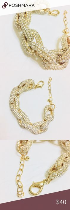 Gold Chunky Pave Link Bracelet Excellent condition! The diamond stones are a lot more sparkly/blinging than shown in photos. Originally purchased at Nordstrom. Nordstrom Jewelry Bracelets