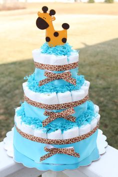Blue Giraffe Diaper Cake, 3 tier. $45.00, via Etsy.