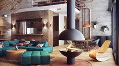 Awesome Colorful Loft Living Room Design With Modern Furniture Living Room Furniture, Modern Furniture, Living Room Decor, Small Living Rooms, Living Room Designs, Design Parquet, Sala Vintage, Loft Stil, Loft Design