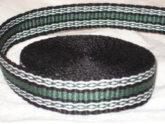 Black, green, and white hand woven inkle trim (over 14 feet)