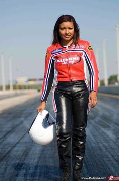 Peggy Llewellyn, Pro/Stock Bike racer. The first woman of color to win an NHRA national event.