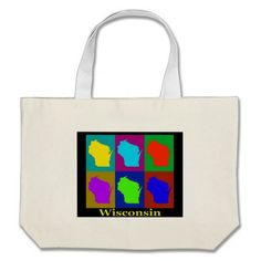 Colorful Wisconsin Pop Art Map Bags