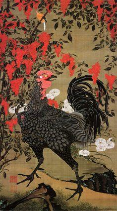 Chicken - Jakuchu Triptych, 18th century Japanese artist