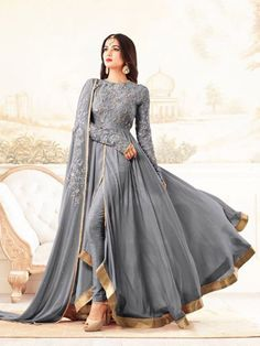 Buy Grey Georgette Anarkali Suit online, SKU Code: This Grey color Party anarkali suit for Women comes with Embroidered Faux Georgette. Indian Gowns, Indian Attire, Indian Ethnic Wear, Indian Suits Punjabi, Punjabi Suits Party Wear, Indian Style, Pakistani Dress Design, Pakistani Outfits, Indian Outfits
