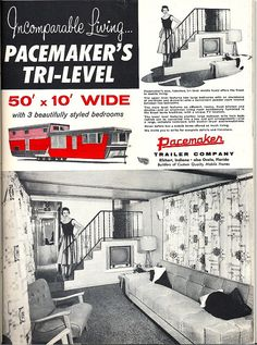 Pacemaker Tri-Level mobile home ad   This living room is jus…   Flickr Vintage Campers Trailers, Retro Campers, Vintage Caravans, Vintage Motorhome, Tiny Trailers, Camping Trailers, Happy Campers, Two Story Mobile Homes, Vintage Rv
