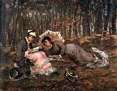 Чтение в лесу, холст, масло, 1880, Париж, общественного достояния, Wikimedia, Ева Гонсалес
