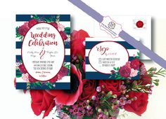 Marsala, Watercolor, Floral, Navy, Wedding Invitations, announcments, RSVP by ErinMizeDesigns on Etsy