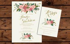 Printable Wedding Invitation and RSVP by RememberNovemberShop