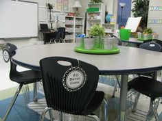 Love the student name tags hanging on the chairs. This way they don't play with them and you still know who sits where.