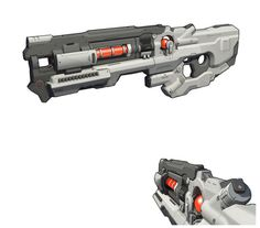 """""""The fiction of the Static Rifle is that it pulls energy from space around it when in motion and releases it in a concentrated beam when fired. My focus for this weapon was to have the player visually feel the weapon charging up. To do this, I built the weapon around how it would animate and what the effects would look like."""""""