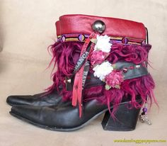 Gypsy Cowgirl boho bootcovers, boot wraps, boot bling, bootcuffs, Black & Red - African jewelry-Bohemian jewelry-Statement jewels