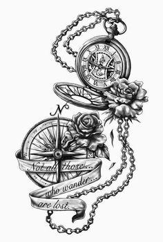 Custom Tattoo Design - Temporary fake tattoos - Thinks Tatto Trendy Tattoos, Cute Tattoos, Tattoos For Guys, Awesome Tattoos, Beautiful Tattoos, Clock Tattoo Design, Compass Tattoo Design, Nautical Compass Tattoo, Compass Drawing