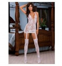 muscilegs mini dress halter neck pothole with contrast lace trim