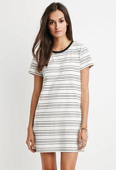 Cutout-Back Striped T-Shirt Dress