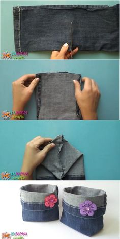 Jean Crafts, Denim Crafts, Fabric Bags, Fabric Scraps, Refaçonner Jean, Creation Couture, Sewing Projects For Beginners, Diy For Girls, Sewing For Kids