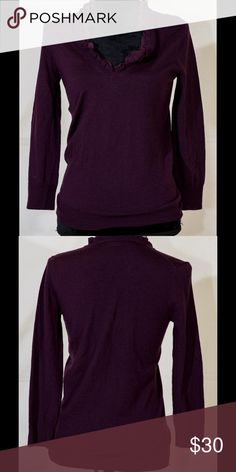 "J crew sweater knit merino wool purple ruffles S J crew sweater knit merino wool purple ruffles S. Under arm to under arm 18"", sleeve length 20.5"", back up down 26"" J. Crew Sweaters V-Necks"