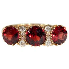 Fabulous Antique Garnet and Diamond Ring, Edwardian in 18k Gold
