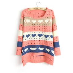 Cute Love style Hollow Loose Women Knitting Sweater