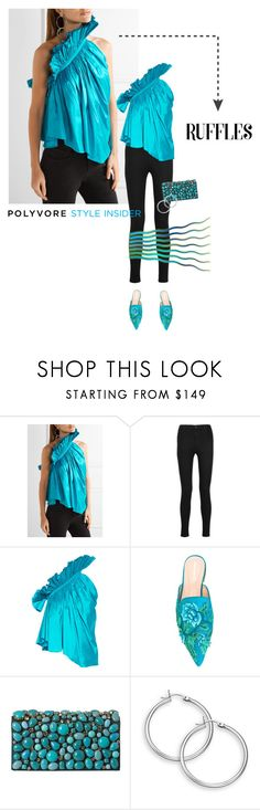 """Add Some Flair: Ruffled Tops"" by lacas ❤ liked on Polyvore featuring J Brand, Marques'Almeida, Alberta Ferretti, Prada, ruffles and ruffledtops"