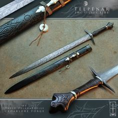 "Telpënár, literal meaning ""Silver Fire"" in Tolkien's ""Quenya"" language, is a High-Elven leaf-bladed longsword crafted by David DelaGardelle. Fantasy Sword, Fantasy Weapons, Swords And Daggers, Knives And Swords, Cool Swords, Medieval Weapons, Cool Knives, Arm Armor, Custom Knives"