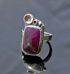 Dramatic Sugilite and Silver Botanical Ring by caroleaxium on Etsy, $112.00