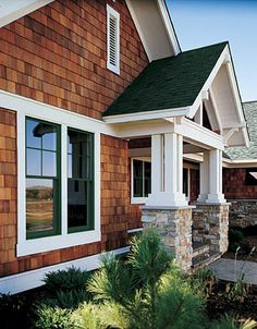 Home Improvement Plan roof over entryway - matching stonework from garage.roof over entryway - matching stonework from garage. Cedar Shingle Siding, Cedar Shake Siding, Cedar Shingles, House Siding, House Paint Exterior, Exterior Siding, Exterior House Colors, Exterior Design, House Shingles