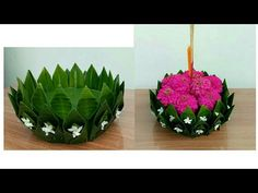 Ganpati Decoration Design, Mandir Decoration, Thali Decoration Ideas, Ganapati Decoration, Diy Diwali Decorations, Festival Decorations, Flower Decorations, Leaf Crafts, Flower Crafts
