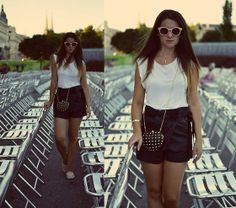 Topshop Top, Pull And Bear Clutch, Zalando Suglasses, Maison Scotch Leather Shorts