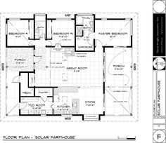 Passive Solar Design Basics: The floor plan of the Western Solar Farmhouse features a great room with good solar exposure and is designed to include ample porch space.