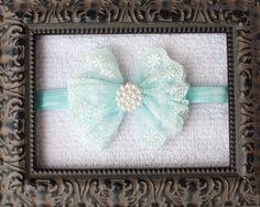 MINTY BLUE Lace Chiffon Bow Headband
