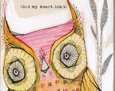 green owl illustration 5 x 10 inches limited edition от corid