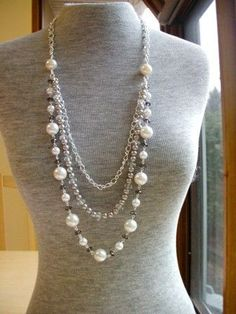 Long Pearl Necklace, Opera Length Necklace, Rope Pearl Necklace, Pearl Necklace, Crystal Pearl Necklace