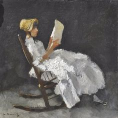 Heimig, Walter (1881-1955) A young woman, reading in a rocking chair