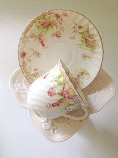 English Bone China Devon Demitasse Teacup and Saucer Tea Party Cottage Shabby Chic Style Little Princess Tea Party